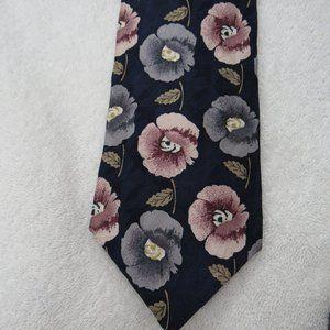 Tie 100% Silk Floral Necktie Blue Pink Flower